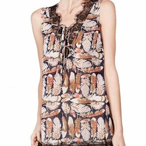 A'Reve Feather V Neck Top